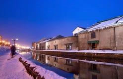 运河小樽冬天 库存照片