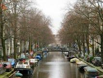水运河的0847阿姆斯特丹家 库存照片
