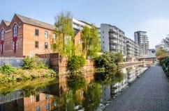 运河看法在诺丁汉 免版税库存照片