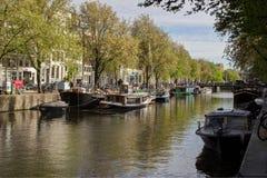 运河视图阿姆斯特丹荷兰欧洲 库存图片