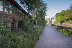 运河道路在伯明翰市中心 免版税库存照片