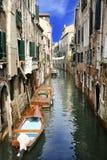 运河都市风景在威尼斯,意大利 免版税库存图片