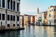 运河重创在日落威尼斯意大利 免版税库存照片