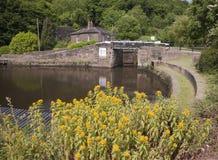 运河锁和停泊 库存照片