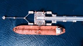 运河货物德国基尔石油船罐车 装载 库存图片