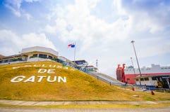 运河gatun锁定巴拿马 这是第一个集合 免版税库存图片