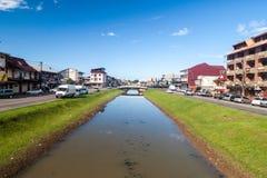 运河Laussat在卡宴的中心 免版税库存图片