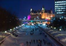 运河rideau滑冰 库存照片