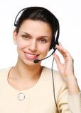 运算符微笑的妇女年轻人 免版税图库摄影