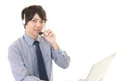 运算符微笑的电话 免版税库存图片