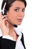 运算符电话年轻人 免版税库存图片