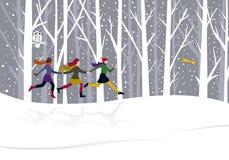 运行三的圣诞节女孩 免版税库存图片