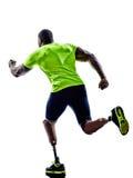 运行与腿假肢sil的有残障的人慢跑者赛跑者 免版税库存照片