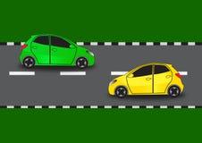 运行在相反方向的两辆汽车 库存例证