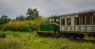 运行在轨道的老火车在大叻,越南 免版税库存照片