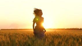 运行在麦子的金黄耳朵的中礼服的女孩 跑在日落的美丽的年轻女人 影视素材