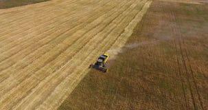 运行在麦田和留下尘土的鸟瞰图大强有力的收割机后边 股票录像