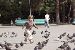 运行正方形的美丽的女孩鸽子 免版税库存图片