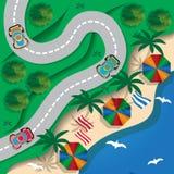 运行沿海滩的弯曲道路 免版税库存图片