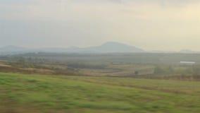 从运行的火车的自然视图 影视素材