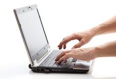 运行膝上型计算机 免版税库存照片