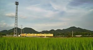 运行通过米领域的火车 免版税库存图片
