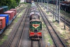 运货车长的火车  图库摄影