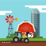 运转在一个可耕的领域的拖拉机 库存例证