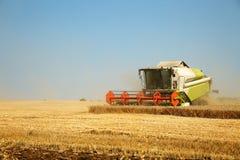 运转在一块金黄成熟麦田的联合收割机在一个明亮的夏日反对蓝天 五谷尘土在天空中 Agricultura 库存照片