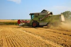 运转在一块金黄成熟麦田的联合收割机在一个明亮的夏日 全部五谷尘土在天空中 库存照片