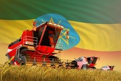 运转在黑麦领域的农业联合收割机有埃塞俄比亚旗子背景,食物生产概念-工业3D 向量例证