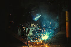运转的行业焊工 图库摄影
