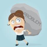 运载一个大问题岩石的女实业家 免版税库存照片