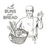 运载一个篮子用面包的贝克 免版税库存照片