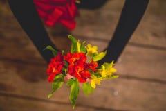 运载一朵红色花的女孩 免版税图库摄影