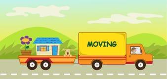 移动的卡车和拖车 库存照片