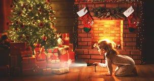 运载圣诞节克劳斯礼品例证晚上圣诞老人向量 有一个手电的女婴在看fo的晚上 免版税图库摄影