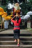 运载在她的头的传统衣裳的巴厘语妇女礼仪奉献物 免版税库存照片