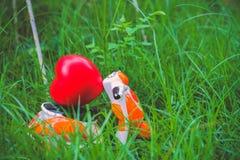运载在草的微型摩托车一个红色心脏坐垫 免版税库存图片