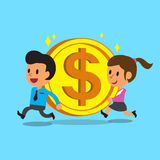 运载大硬币的商人和女实业家 免版税库存图片