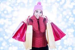 运载桃红色袋子的愉快的顾客 库存照片