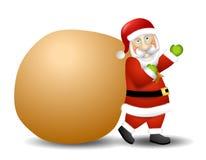 运载的克劳斯大袋圣诞老人玩具 免版税库存照片