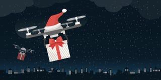 运载礼物的圣诞老人的寄生虫 库存例证