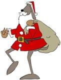 运载礼物袋子的圣诞老人狗 库存例证