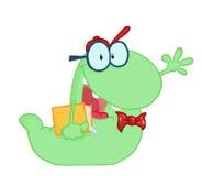 运载绿色学员挥动的蠕虫的书 免版税库存照片