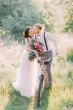 运载自行车和走在晴朗的森林里的新婚佳偶夫妇的可爱的照片现代穿戴的新郎 库存照片