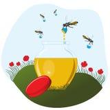 运载蜂蜜罐的蜂 免版税库存照片
