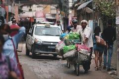 运载许多结果实的两位尼泊尔菜卖主推挤自行车 免版税库存照片