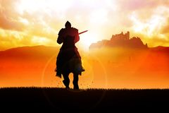 运载长矛的马的中世纪骑士 皇族释放例证