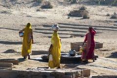 运载水的妇女在拉贾斯坦 库存图片